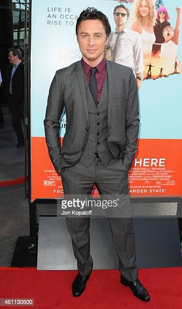 Actor/director Zach Braff arrives at the Los Angeles Premiere 'Wish I Was Here' at the DGA on June 23 2014 in Hollywood California
