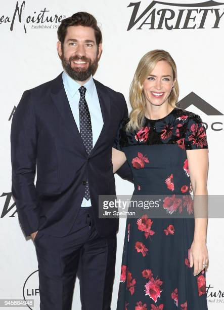 Actor/directorJohn Krasinski and actress Emily Blunt attend the 2018 Variety's Power of Women New York at Cipriani Wall Street on April 13 2018 in...