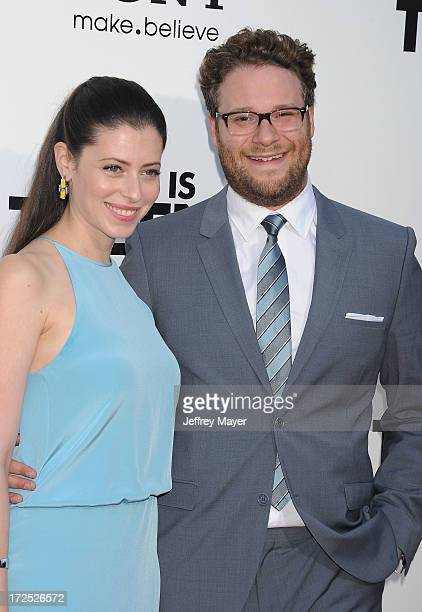 Actor/Director/Producer Seth Rogen and wife Lauren Miller arrive at the 'This Is The End' Los Angeles premiere at Regency Village Theatre on June 3...