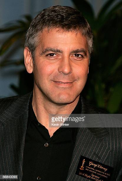 Actor/director/writer George Clooney arrives at the Oscar Nominees Luncheon at the Beverly Hilton Hotel on February 13 2006 in Beverly Hills...