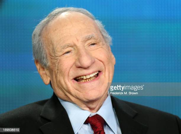 Actor/Director/Writer Mel Brooks speaks onstage during the PBS panel for 'AMERICAN MASTERS 'Mel Brooks Make a Noise' ' of the 2013 Winter Television...