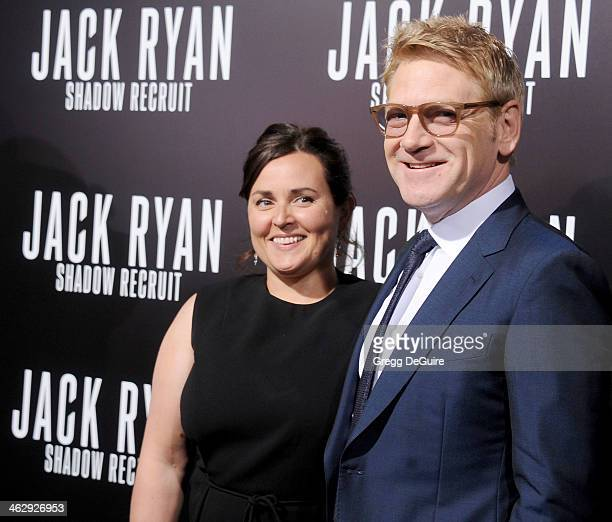 Actor/dirrector Kenneth Branagh and Lindsay Brunnock arrive at the Los Angeles premiere of 'Jack Ryan Shadow Recruit' at TCL Chinese Theatre on...