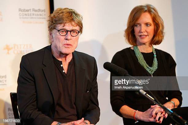 Actor/environmentalist Robert Redford and Pitzer College President Laura Skandera Trombley attend the naming of Pitzer College's new Conservancy at...
