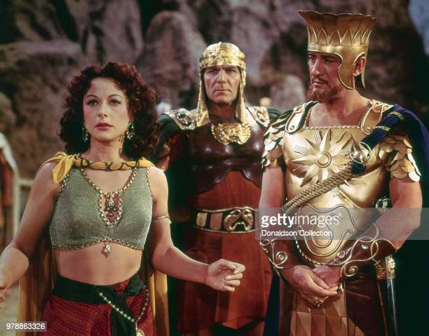 """Actoress Hedy Lamarr, George Sanders and Henry Wilcoxon in a scene from the movie """"Samson And Delilah"""" which was released on December 21, 1949."""