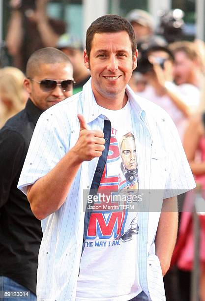 Actor/executive producer Adam Sandler arrives at the premiere Of Universal Pictures' 'Funny People' held at ArcLight Cinemas Cinerama Dome on July 20...