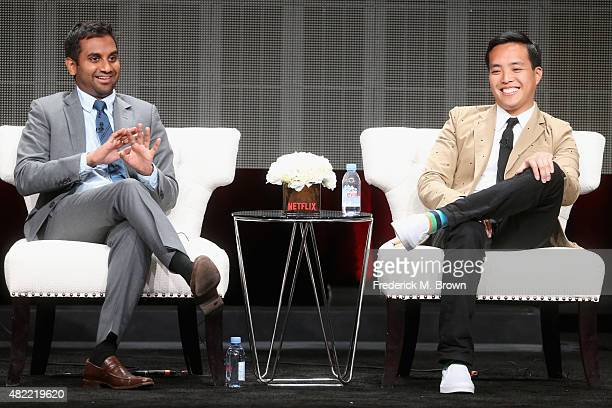 "Actor/executive producer Aziz Ansari and executive producer Alan Yang speak onstage during the ""Master of None"" panel discussion at the Netflix..."