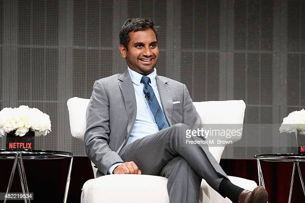 "Actor/executive producer Aziz Ansari speaks onstage during the ""Master of None"" panel discussion at the Netflix portion of the 2015 Summer TCA Tour..."