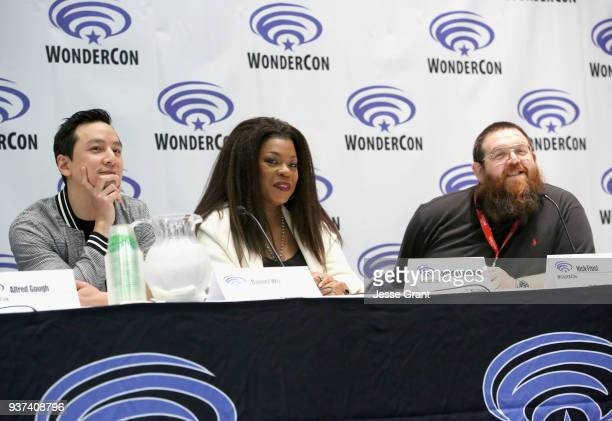 Actor/executive producer Daniel Wu actors Lorraine Toussaint and Nick Frost speak onstage during AMC's 'Into the Badlands' panel during WonderCon at...