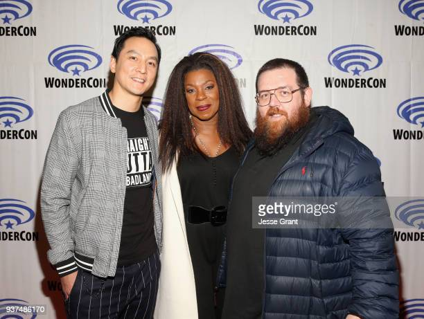 Actor/executive producer Daniel Wu actors Lorraine Toussaint and Nick Frost of AMC's 'Into the Badlands' attend WonderCon at Anaheim Convention...