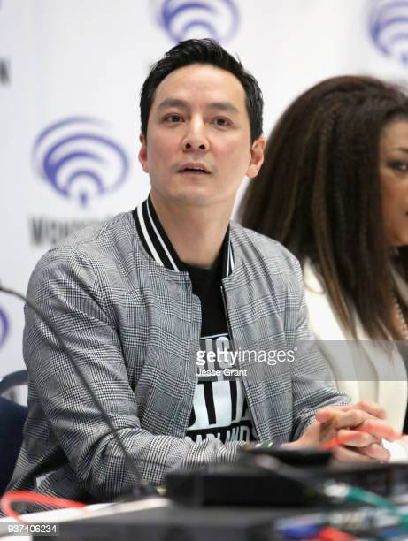 Actor/executive producer Daniel Wu speaks onstage during AMC's 'Into the Badlands' panel during WonderCon at Anaheim Convention Center on March 24...