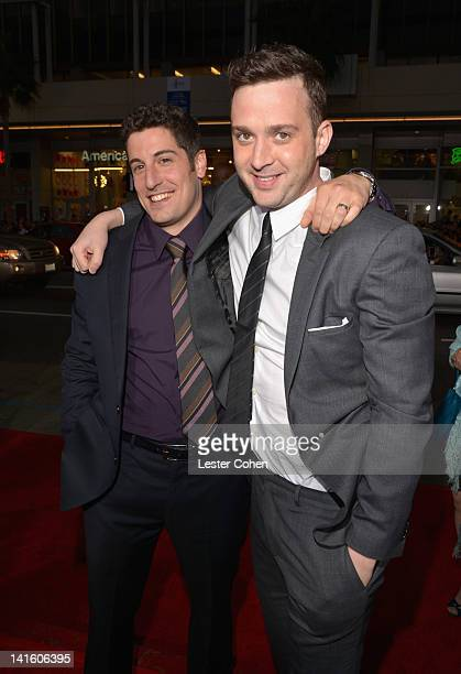 """Actor/Executive Producer Jason Biggs and actor Eddie Kaye Thomas arrive at the """"American Reunion"""" Los Angeles Premiere March 19, 2012 in Hollywood,..."""