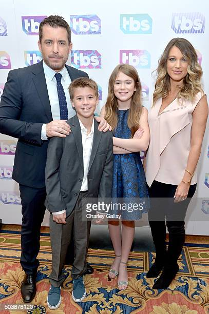 Actor/executive producer Jason Jones actors Liam Carroll Ashley Gerasimovich and Natalie Zea of 'Detour' attend the 2016 TCA Turner Winter Press Tour...