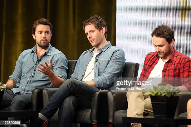 Actor/Executive Producer Rob McElhenney actor/Executive Producer Glenn Howerton and actor/Executive Producer Charlie Day speak onstage during the...