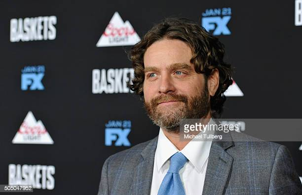 Actor/Executive Producer Zach Galifianakis attends the premiere of FX's Baskets at Pacific Design Center on January 14 2016 in West Hollywood...