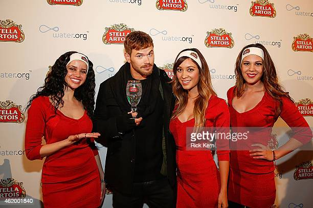 Actor/fashion model Kellan Lutz poses during Stella Artois and Waterorg's Buy a Lady a Drink launch event at Village at the Lift on January 22 2015...