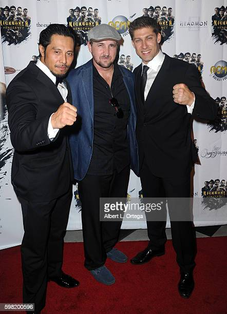 Actor/fighter Sam Medina actor/producer Steve Swadling and actor/fighter Alain Moussi arrive for the Premiere Of RLJ Entertainment's Kickboxer...