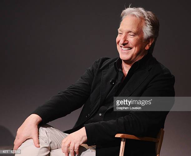 Actor/filmmaker Alan Rickman attends the Apple Store Soho Meet The Filmmaker Alan Rickman A Little Chaos at Apple Store Soho on June 19 2015 in New...