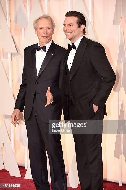 Actor/filmmaker Clint Eastwood actor Bradley Cooper attend the 87th Annual Academy Awards at Hollywood Highland Center on February 22 2015 in...