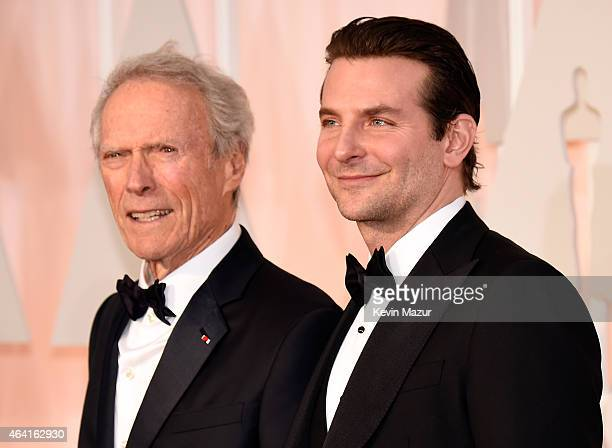 Actor/filmmaker Clint Eastwood and actor Bradley Cooper attend the 87th Annual Academy Awards at Hollywood Highland Center on February 22 2015 in...