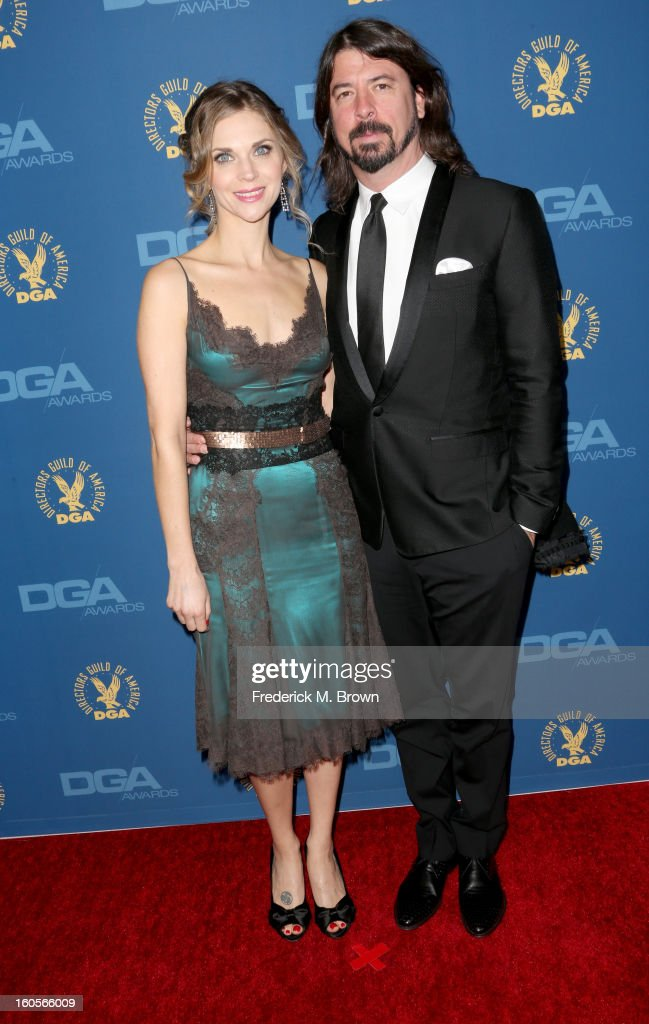 Actor/filmmaker Dave Grohl (R) and wife Jordyn Blum attend the 65th Annual Directors Guild Of America Awards at Ray Dolby Ballroom at Hollywood & Highland on February 2, 2013 in Los Angeles, California.