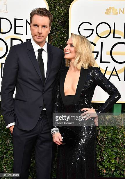 Actor/filmmaker Dax Shepard and actress Kristen Bell attend the 74th Annual Golden Globe Awards at The Beverly Hilton Hotel on January 8 2017 in...