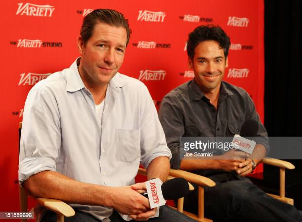 Actor/filmmaker Edward Burns and Aaron Lubin at Variety Studio presented by Moroccanoil on Day 1 at Holt Renfrew Toronto during the 2012 Toronto...