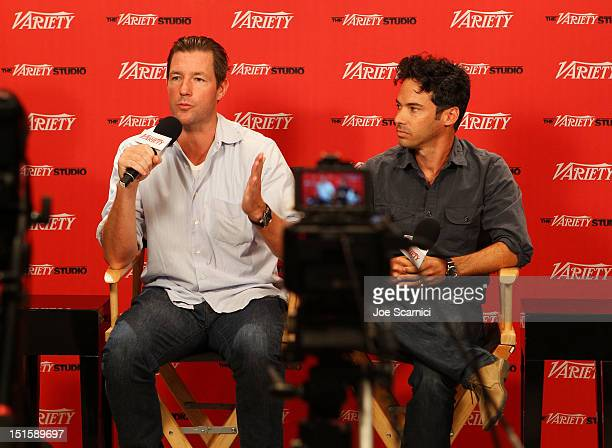 Actor/filmmaker Edward Burns and Aaron Lubin at Variety Studio presented by Moroccanoil on Day 1 at Holt Renfrew, Toronto during the 2012 Toronto...