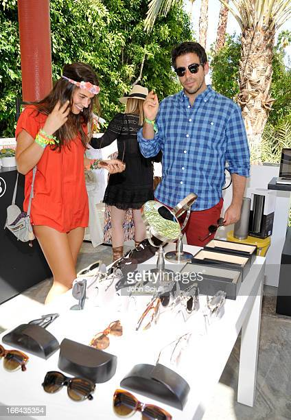 Actor/filmmaker Eli Roth and actress Lorenza Izzo attend Harper's BAZAAR Coachella poolside fete at the Parker Palm Springs on April 12 2013 in Palm...