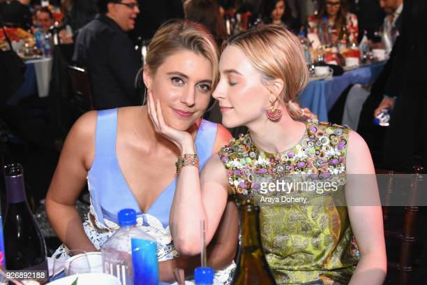 Actor/filmmaker Greta Gerwig and actor Saoirse Ronan attend the 2018 Film Independent Spirit Awards on March 3 2018 in Santa Monica California