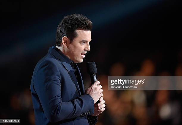 Actor/filmmaker Seth MacFarlane speaks onstage during The 58th GRAMMY Awards at Staples Center on February 15 2016 in Los Angeles California