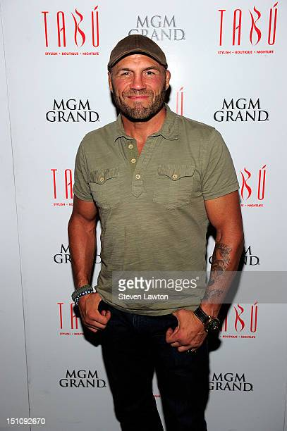 Actor/former MMA fighter Randy Couture arrives to celebrate Ryan Couture's 30th birthday at the Tabu Ultra Lounge at the MGM Grand on August 31 2012...