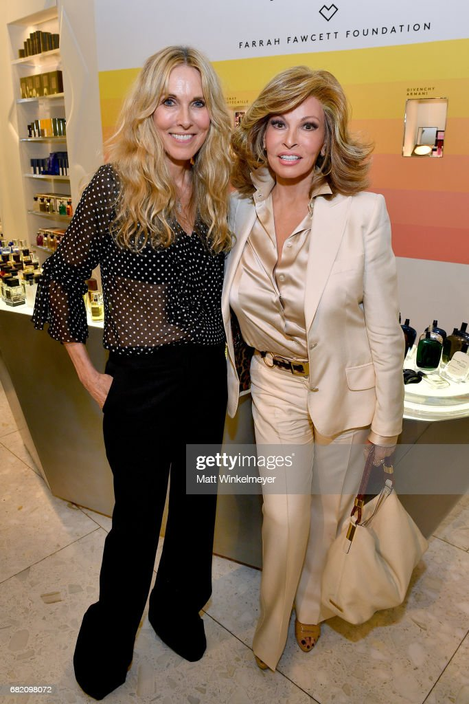 Actor/host Alana Stewart (L) and actor Raquel Welch attend Barneys New York Celebration of the Farrah Fawcett Foundation at Barneys New York Beverly Hills on May 11, 2017 in Beverly Hills, California.