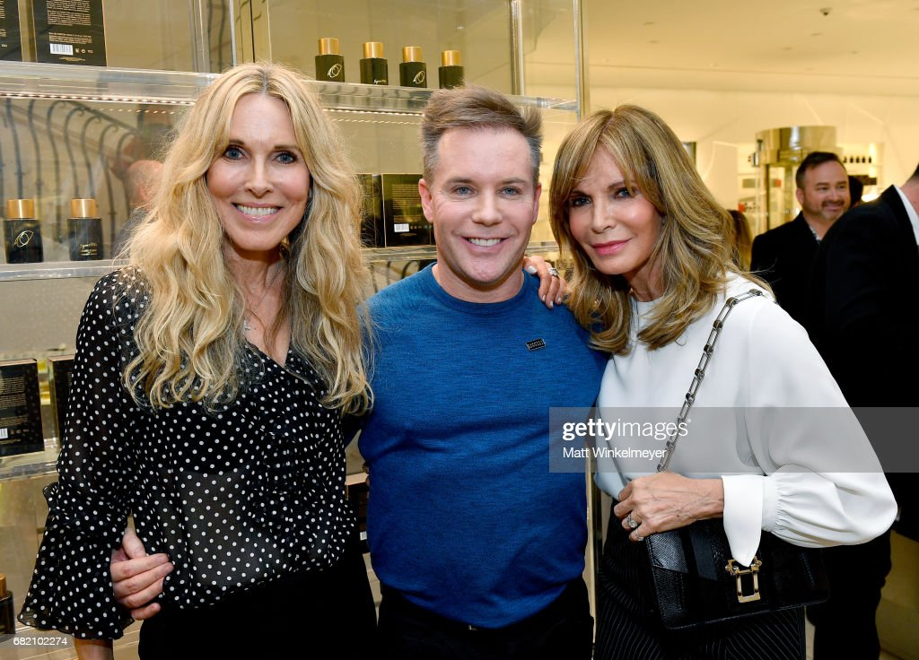 Actor/host Alana Stewart, makeup artist Patrick Foley, and actor Jaclyn Smith attend Barneys New York Celebration of the Farrah Fawcett Foundation at Barneys New York Beverly Hills on May 11, 2017 in Beverly Hills, California.