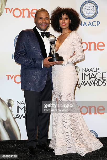 Actor/Host Anthony Anderson and actress Tracee Ellis Ross pose in the press room during the 46th NAACP Image Awards presented by TV One at Pasadena...