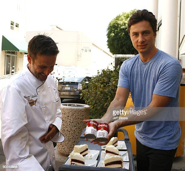 Actor/host David Arquette and actor Zach Braff attend the kick off for Hunger Action Month with Feeding America and The Cheesecake Factory at Culver...