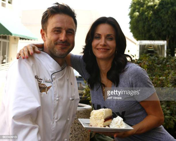 Actor/host David Arquette and actress Courteney Cox attend the kick off for Hunger Action Month with Feeding America and The Cheesecake Factory at...