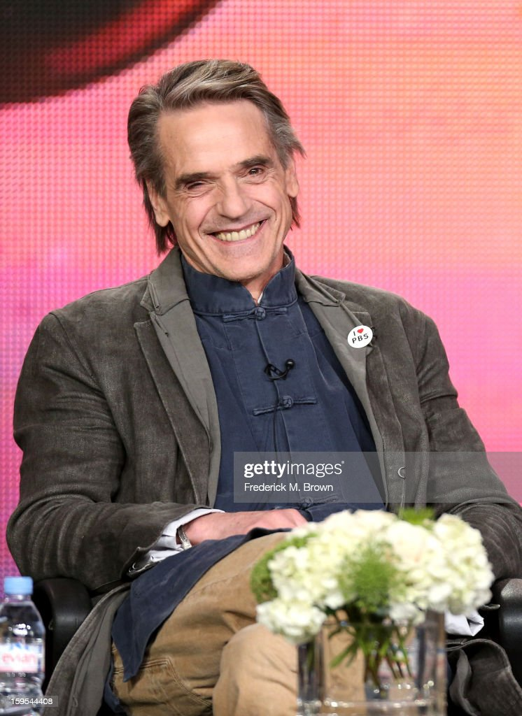 Actor/host Jeremy Irons of the television show 'Shakespeare' speaks onstage during the PBS Portion- Day 2 of the 2013 Winter Television Critics Association Press Tour at Langham Hotel on January 15, 2013 in Pasadena, California.