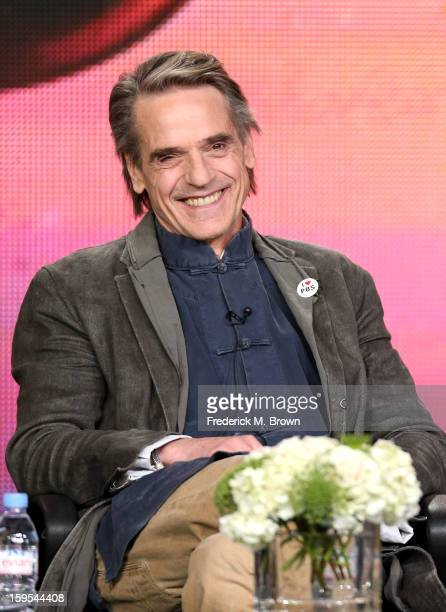 Actor/host Jeremy Irons of the television show 'Shakespeare' speaks onstage during the PBS Portion Day 2 of the 2013 Winter Television Critics...