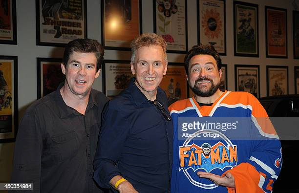 Actor/host Ralph Garman DC Editor Jim Chadwick and writer/host Kevin Smith at the 'Batman 66 Meets The Green Hornet' Comic Book Kickoff Fatman On...