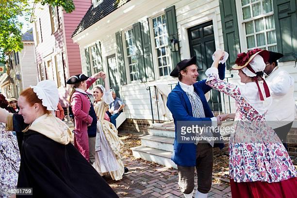 ActorInterpretors dance during a scene in Colonial Williamsburg Virginia on Tuesday October 5 2010