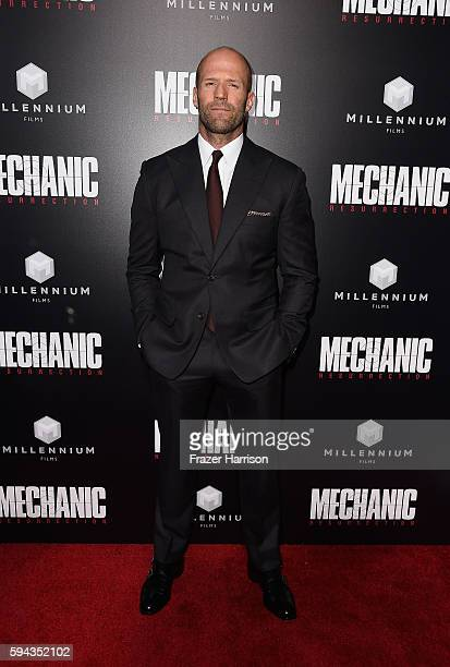 ActorJason Statham arrives at the Premiere of Summit Entertainment's 'Mechanic Resurrection' at ArcLight Hollywood on August 22 2016 in Hollywood...