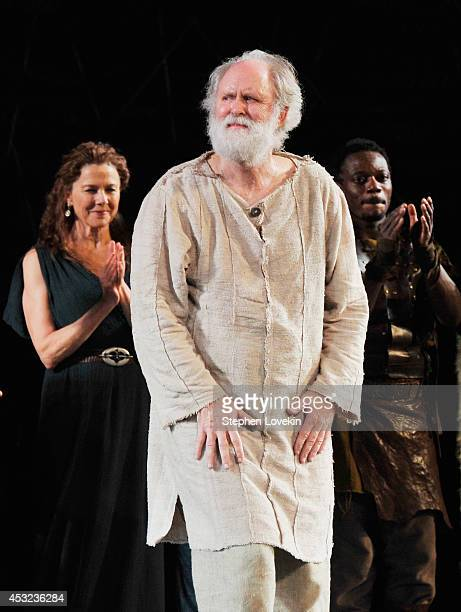 ActorJohn Lithgow attends the curtain call for The Public Theatre's Opening Night Performance of King Lear at Delacorte Theater on August 5 2014 in...