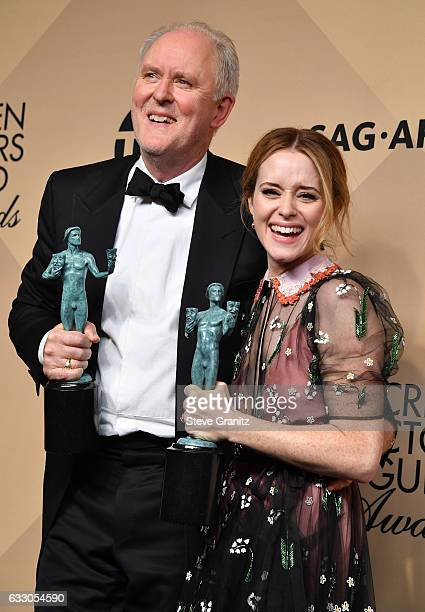 ActorJohn Lithgow , winner of the Outstanding Male Actor in a Drama Series for 'The Crown,' and actor Claire Foy, winner of the Outstanding Female...