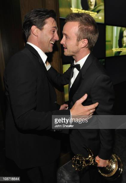 ActorJon Hamm and actor Aaron Paul attend the AMC After Party for the 62nd Annual EMMY Awards at Soho House on August 29, 2010 in West Hollywood,...