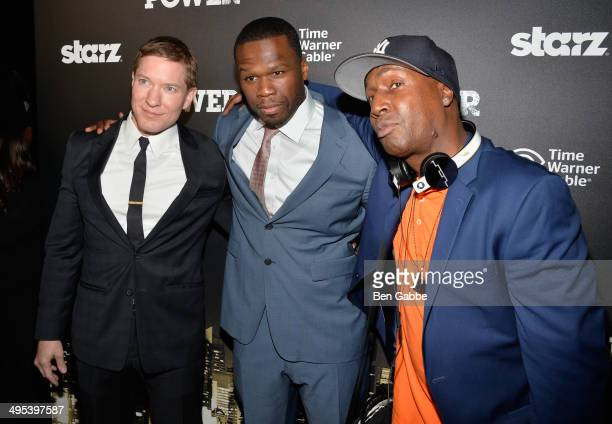 ActorJoseph Sikora executive producer Curtis '50 Cent' Jackson and Grandmaster Flash attend the 'Power' premiere on June 2 2014 in New York City