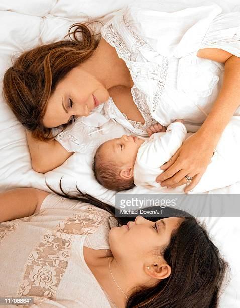 ActorKelly Preston with newborn son Benjamin Travolta and daughter Ella Bleu Travolta at their home in Florida on January 4 2011