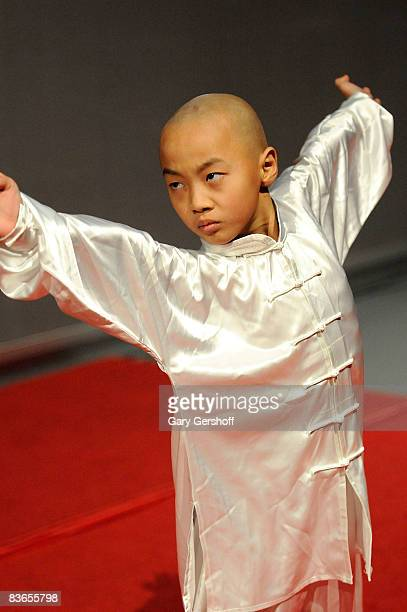 Actor/martial artist Wang Sen performs during a press preview of Soul of Shaolin on Broadway at the New World Stages on November 11 2008 in New York...