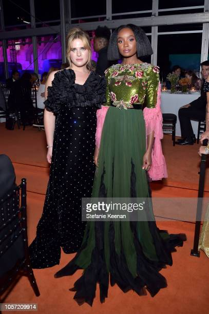 Actormodel Hari Nef and actor Kiki Layne both wearing Gucci attend 2018 LACMA Art Film Gala honoring Catherine Opie and Guillermo del Toro presented...