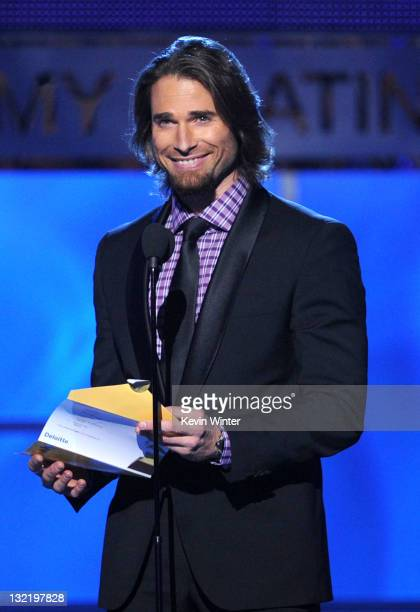 Actor/model Sebastian Rulli speaks onstage during the 12th annual Latin GRAMMY Awards at the Mandalay Bay Events Center on November 10 2011 in Las...