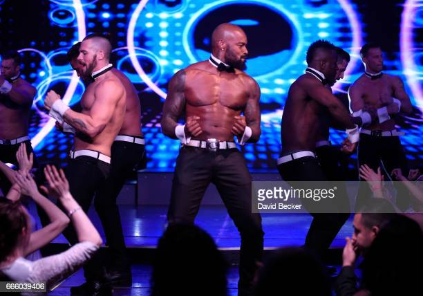 Actor/model Tyson Beckford performs as a celebrity guest host in residency with the Chippendales at the Rio Hotel Casino on April 7 2017 in Las Vegas...